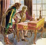 Angrily, the Marquis pens a letter to one of his agents and has it sent to Calais