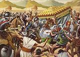 Spaniards toppling the Inca Empire of Peru.
