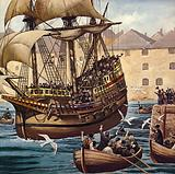 Westward Ho! The Mayflower leaves Plymouth Ho on 16 September 1620.