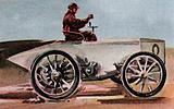 1898, The Count de Chasseloup-Laubat driving his Jeantaud electric car at 39.24 miles per hour
