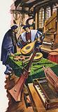 A maker of musical instruments in his shop in Tudor times