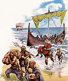 Saxons arriving in Britain in the long-boats from Germany