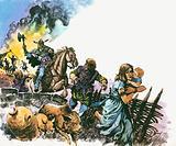 The Saxon raiders drove out the Britons
