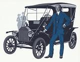 Henry Ford with the famous Model T that made the Ford name and fortune