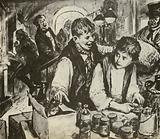 Charles Dickens as a boy in the blacking factory