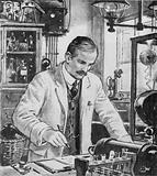Ernest Rutherford, at work in his laboratory at Cambridge
