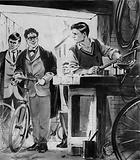 William Morris, the future Lord Nuffield, repairing bicycles in Oxford
