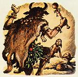 Witch doctor in prehistoric times