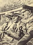 Adolph Hitler and colleagues watching Jesse Owens at the 1936 Olympics