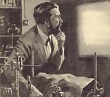 Wilhelm Rontgen working on X-Rays