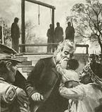 John Brown on the way to the gallows stopped to kiss a negro child