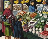 Greengrocers in pre-Decimilisation Britain