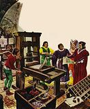 William Caxton showing off his printing press to King Edward IV and his Queen, Elizabeth