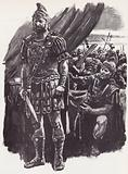 Brutus, defeated at the Battle of Philippi and despairing of escape, he took his own life
