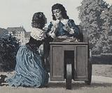 Paul Scarron, in his box on wheels, being tended by his wife, later the famous Marquise De Maintenon