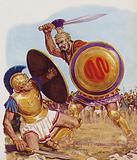 Paris (left) and Menelaus in combat