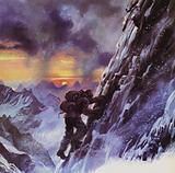Walter Bonatti stuggling upwards toward the peak of the Matterhorn