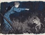 Mary Kingsley defying a leopard on the loose