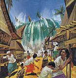 Tsunami following eruption of Krakatoa