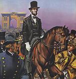 Abraham Lincoln rides into Gettysburg