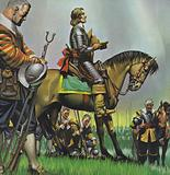 Oliver Cromwell praying with his troops before battle