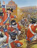 Clive and his 500 men defending the fort at Arcot against 10,000