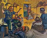 Celtic home in Britain, c 500 BC, with father telling stories to his children