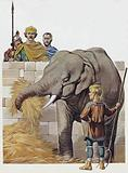 The Emperor Charlemagne's elephant, given to him by Harun Al Rashid, Caliph Of Baghdad