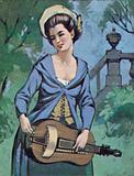 Woman playing the hurdy-gurdy