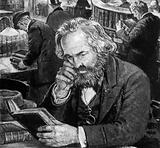 Karl Marx studying and writing in the reading room of the British Museum