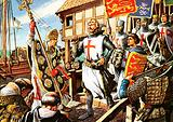 Richard the Lionheart and his knights leave for the First Crusade
