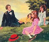 Charles Lutwidge Dodgson telling stories to Alice Liddell and her two sisters