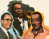 Benny Goodman, Luis Armstrong and Duke Ellington