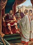 The Roman ambassadors beseaching Alaric I, King of the Visigoths