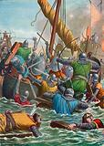 Naval battle in 806 between the Venetians and the Franks