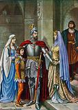 Elena and their children saying farewell to Manfred, killed at the Battle of Benevento
