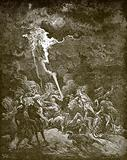 Elijah destroys the messengers of Ahaziah by fire