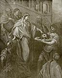 Herodias receiving the head of John the baptist