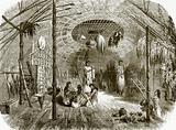 Interior of a hut in the island of Kar-Nikobar