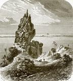 Pinnacle and coral reef, Bora-Bora