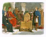 Harold swears fidelity to duke William of Normandy