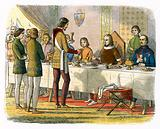 Prince Edward serves king John of Artois at table after having defeated him at Poitiers