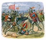 King Henry V attacked by the duke of Alencon at the battle of Agincourt