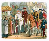 King Charles VI of France and Henry V welcomed by the clergy