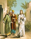 Jesus and the two disciples at Emmaus