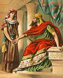Nebuchadnezzar commanding Daniel to interpret the dream