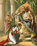 Esther beseeches king Ahasuerus to revoke his decree against the Jews