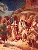 Joseph and Mary arrive at Bethlehem, but find there is no room for them at the inn