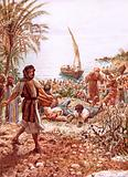 Jesus teaching from Peter's fishing boat