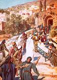 Jesus raising a young man from the dead in a city called Nain